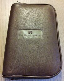3 Pen Zippered Leather Pen Case (Traditional Brown)