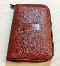 3 Pen Zippered Leather Pen Case (Vintage Tan)