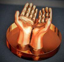 Clasped Hands Antique Copper Pen Stand