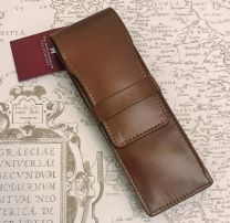 Double Tan leather Pen Case