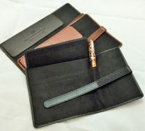 Black 5 x Pen Leather Pen Roll by The Northumbrian Pen Co