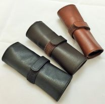 Brown 5 x Pen Leather Pen Roll by The Northumbrian Pen Co